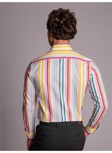 Dufy Çok Renklı Çızgılı Erkek Gömlek - Slım Fıt Beyaz